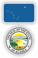 ALASKA State Flag + SEAL 2 bumper stickers decals USA
