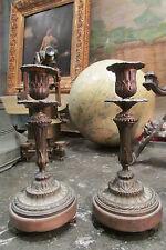 ancienne paire de bougeoirs milieu 19e bronze style louis philippe restauration