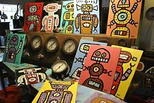 Lot of 10 robot paintings by Well Listed Texas Folk Artist Paco Felici