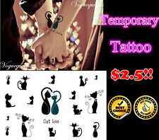 Brand New Love Black Cats Pattern Temporary Tattoo