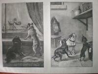 2 Dog prints by S T Dadd 1886