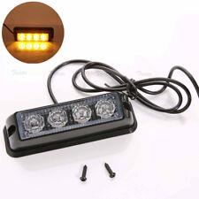 4pcs LED Amber Car Truck Emergency Beacon Bar Hazard Strobe Flash Warning Light