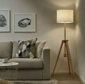 Ikea Lauters Floor Lamp Modern Solid Wood Natural Ash/White Adjustable Height