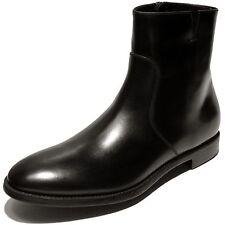 NEW Ferragamo SOFFIO Black Dress Leather Ankle 11.5 44.5 Fashion Zip Men's Boots