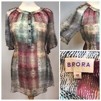 Size12 BRORA Blouse Tunic Top 100% Silk Vintage Multi Colour Chiffon Sheer