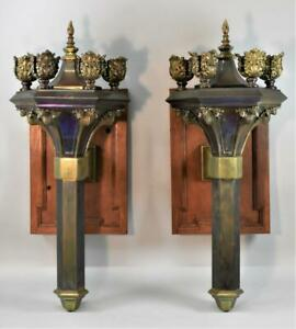 Pair of Gothic Revival Torch Style Brass Wall Sconces