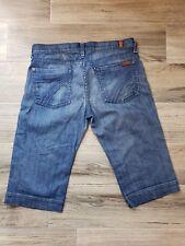 7FAM 7 Seven For All Mankind Crop Dojo Medium Indigo Wash Denim Capri Jeans 27