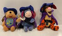 Disney Winnie the Pooh Musketeer Stuffed Animal Plush Bean Bag Set Of (3) NEW