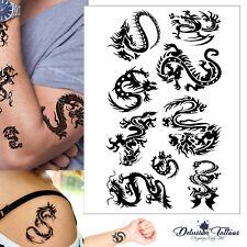 Tribal Dragon Temporary Tattoo Set - Black Waterproof Mens Womens Kids Body Art