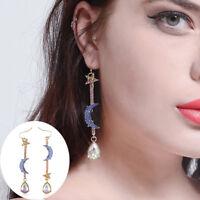 New Blue Moon Star Crystal Dangle Drop Rhinestone Earrings Women Fahsion Jewelry