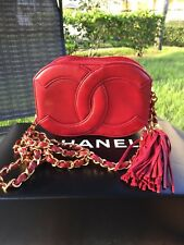 New Vintage Chanel Mini Lambskin Camera bag Evening Clutch Red Rare