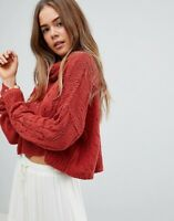 Free People NWT Shades of Dawn Pullover Sweater Size Medium M NEW Brick Red