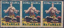 VI-64 ANTILLES 1936 ZONA FRANCA DEL PUERTO DE MATANZAS TIRA DE TRES .