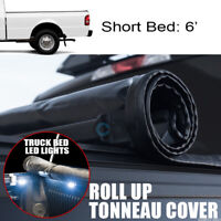 Fit 83-11 Ranger/94-10 B-Series 6' Bed Roll-Up Soft Tonneau Cover+16X LED Lights