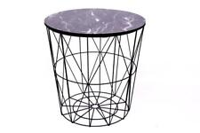 Round Modern Retro Black Wire Metal & Marble Effect Wood End Side Storage Table