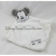 Doudou plat Mickey CARTOON CLUB DISNEY blanc gris Mickey 27 cm (F1491)