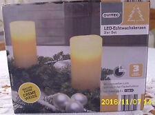2er Set LED-Echtwachskerzen,Timer, warmes Licht,incl. Batterien:NEU