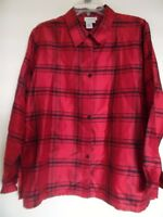 Women's Coldwater Creek Red Black Silk  Plaid   Button Down  Top Shirt Sz L
