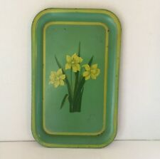 """VINTAGE Tole Toleware Tin ServingTray Daffidil's Floral 14""""x9"""" HAND-PAINTED"""