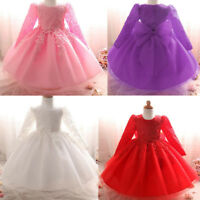 Newborn Baby Kids Girl Long Sleeve Christening Party Wedding Princess Tutu Dress