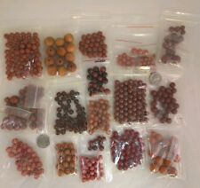 Mixed Beads Glass Wood Plastic Stone Brown Burgundy Red Lot #11