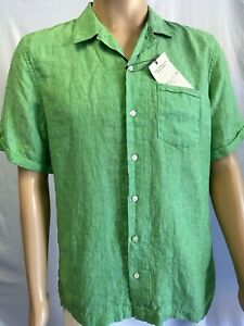 NEW! Baird McNutt Linen, Murano Slim Fit, Men's Green Shirt, Size L, S/S, Button