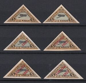 Estonia. 1920-23 Air Issues x6. Mint Hinged.