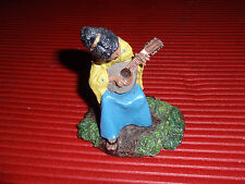 Vintage Hand Painted Pewter Figurine Lady Playing Mandolin The Franklin Mint 197