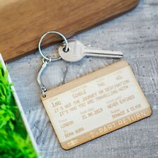 Personalised Valentines Gifts For Him & Her 5th Anniversary Train Ticket Keyring