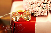 18K Rose Gold Plated Solid Cute Pink Bowknot Ring With SWAROVSKI Crystal Size 7
