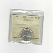 **1954**, ICCS Graded Canadian, 25 Cent, **MS-65**