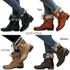 New Women Esr Black Tan Brown Taupe Folded Combat Military Mid-Calf Riding Boot