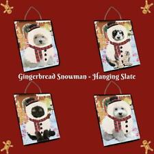 Christmas Gingerbread Snowman Dog Cat Pet Photo Hanging Slate Wall Decor