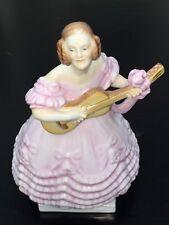 "Herend Hungary 5796 Deryne Girl Playing Guitar Figurine 8 1/2"" Tall"