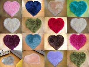 Soft Faux Fur Fake Sheepskin Washable Non Slip Cheap Mat Small Heart Shape Rug