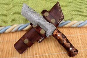 """10""""MH KNIVES CUSTOM HANDMADE DAMASCUS STEEL FULL TANG HUNTING/SKINNER KNIFE D65A"""