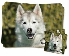 Siberian Husky Dog 'Yours Forever' Twin 2x Placemats+2x Coasters Set i, AD-H1YPC