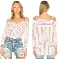 Joie Alvina Top Womens Size Small White Red Stripe Button Down Off Shoulder