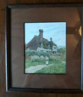 Vintage European Country Cottage Lithograph Dated 1944, Matted w/Wood, Framed