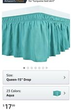 New ListingBiscaynebay Wrap Around Bed Skirts Elastic Dust Ruffles, Easy Fit Aqua color New
