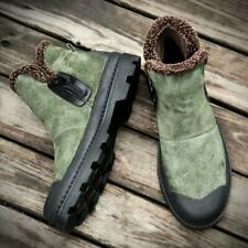 Retro Men's Lace up Fur Lining outdoor Ankle boots Punk Pull On Shoes Winter NWL
