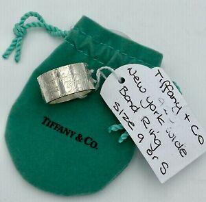 Tiffany Co 925 Sterling Silver Notes 727 New York 5th Avenue Wide Band Ring Sz 9