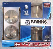 Brinks Keyed Entry Door Tulip Knob & Deadbolt 2102-119 Satin Nickel