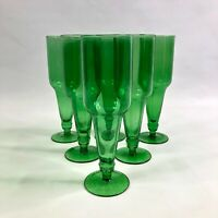 Set Of 6 Upcycled Beer Bottle Wine Glasses Green Recycle Repurpose Champagne