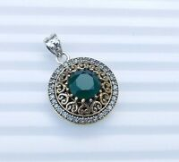 9.00Gm 925 Solid Sterling Silver Two Tone Pendant Emerald Pendant Gemstone i1666