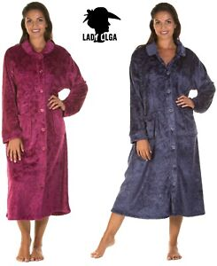 Warm Embossed Button Dressing Gown  House coat By Lady Olga  Soft Feel Fleece
