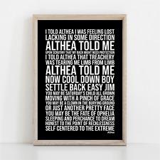 More details for grateful dead althea song lyrics poster print wall art