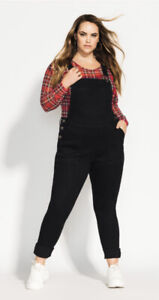 CITY CHIC - Skinny Black Denim Jean Overalls Size 20/Plus Size/Dungaree/Jumpsuit