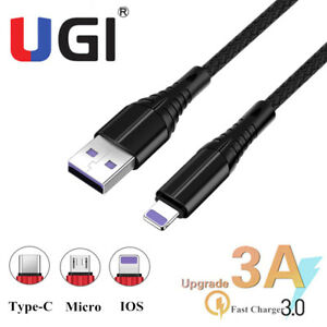UGI 3A Micro USB IOS Type-C Charger Cable Fast Charging For iPhone 7 8 11 XS Max