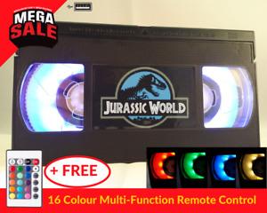 📼 Retro USB VHS Lamp | Night Light, Jurassic World, Film Gift, 16 Colour Remote